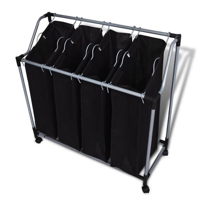 Chariot à linge avec 4 sacs à linge noir gris Noir