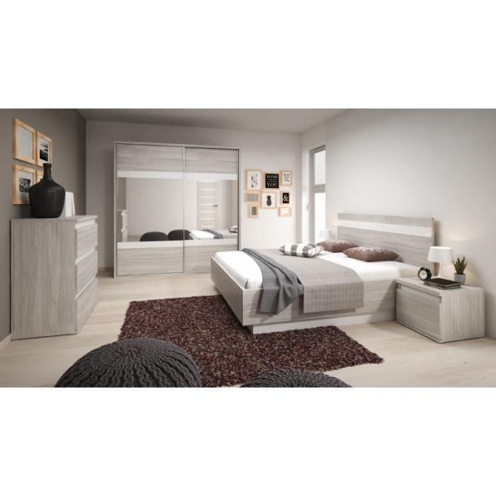 Chambre complète adulte MONTREAL gris/blanc