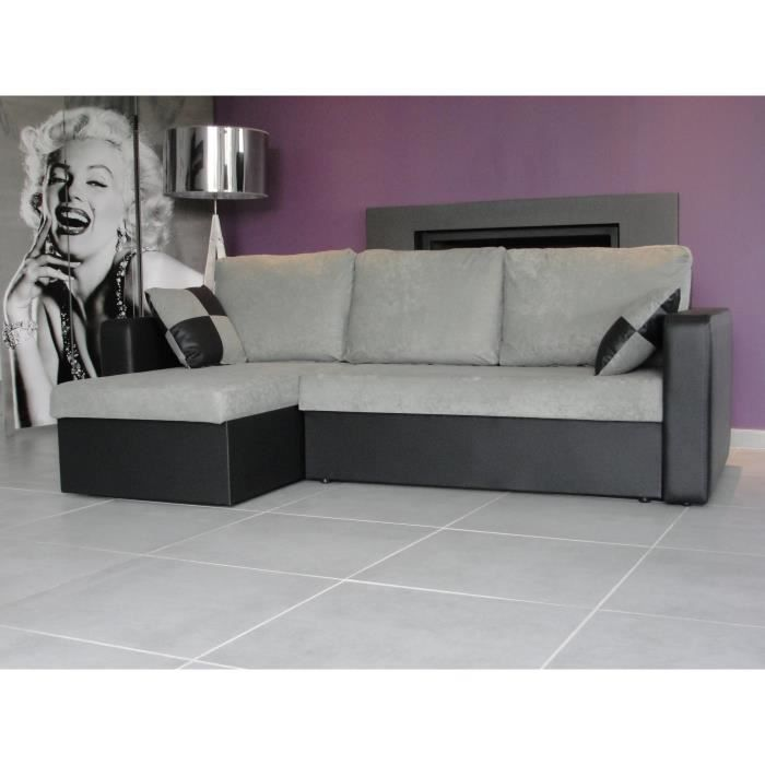 atlas canap d 39 angle convertible noir gris achat vente canap sofa divan cdiscount. Black Bedroom Furniture Sets. Home Design Ideas
