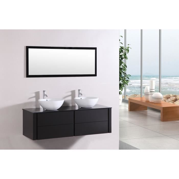 ogchul wenge ensemble salle de bain meuble 2 vasques 1 miroir achat vente salle de. Black Bedroom Furniture Sets. Home Design Ideas