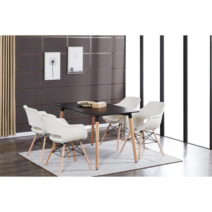 Table à Manger Noire + 4 Chaises Beiges en Tissu Olivia - Salle à Manger,  Salon, Cuisine - Design Moderne