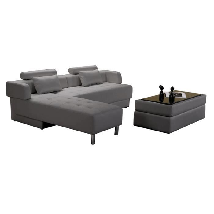 Canap d 39 angle reversible convertible cuir pouf coffre table basse gris - Canape d angle confortable ...