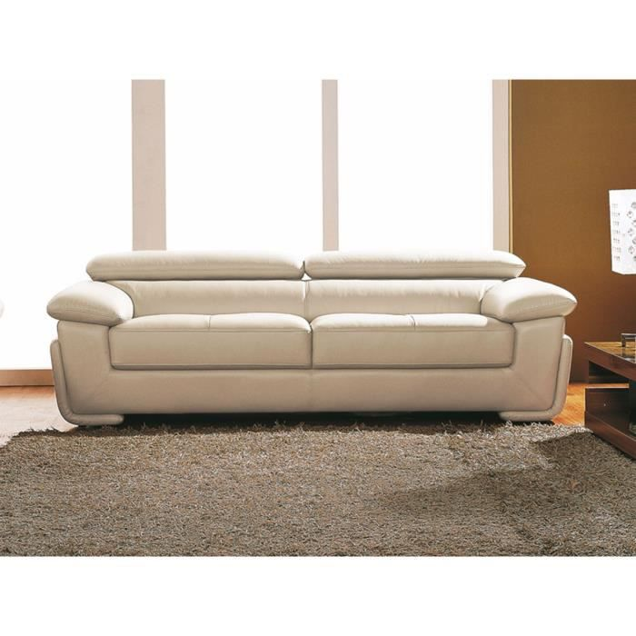canap cuir sup rieur 3 places beige sena achat vente canap sofa divan cuir. Black Bedroom Furniture Sets. Home Design Ideas