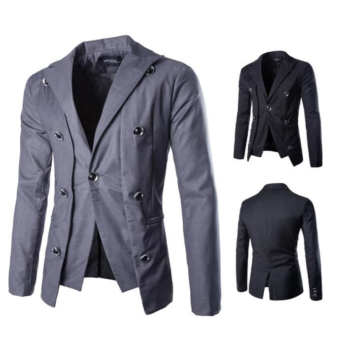 double boutonnage veste de costume pour hommes gris achat vente pochette de costume. Black Bedroom Furniture Sets. Home Design Ideas