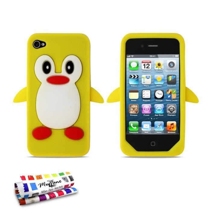 coque souple jaune le pingouin apple iphone 4