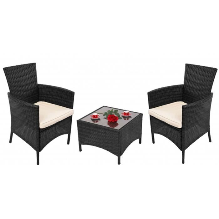 salon de jardin rome 2 fauteuils et 1 table avec plateau en verre achat vente salon de. Black Bedroom Furniture Sets. Home Design Ideas