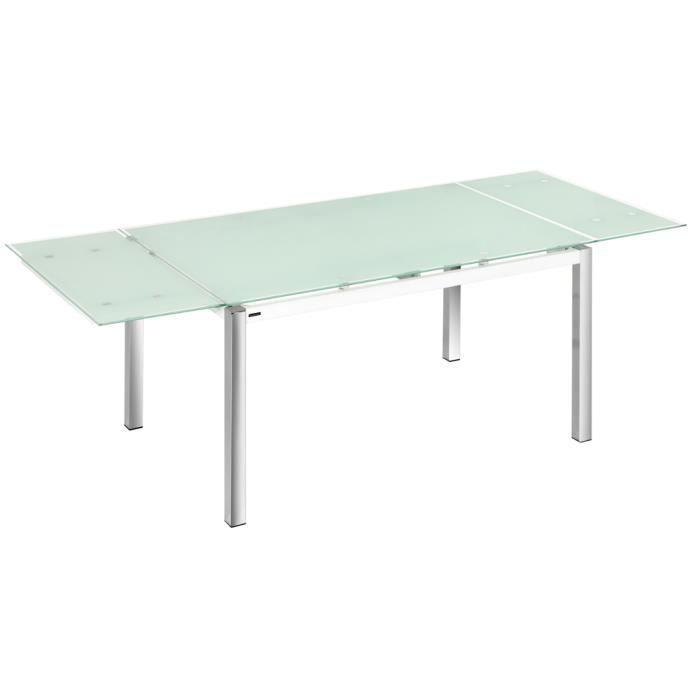 Table manger extensible en verre tremp chrom 1400 2200 x 900 x750 mm a - Table a manger verre extensible ...