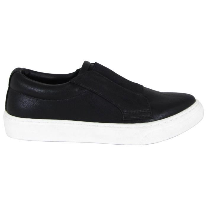 Round Closed Toe Stretch Slip-on Flatform Fashion Sneaker O7OG9 Taille-39 1-2