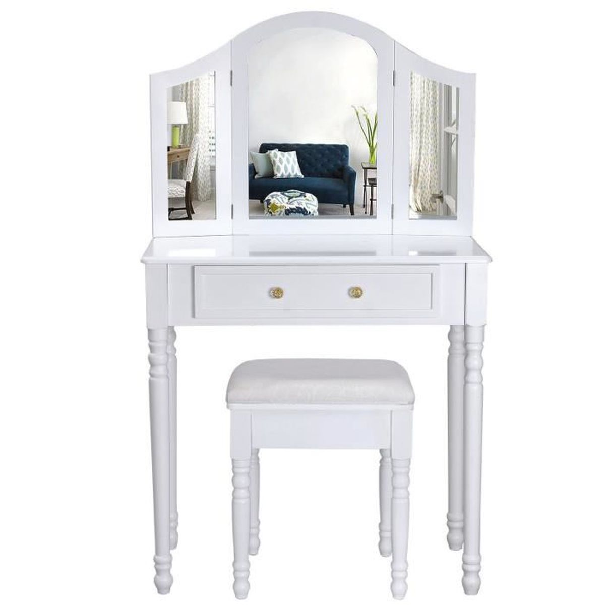 Coiffeuse meuble blanc table de maquillage commode avec 3 for Meuble coiffeuse blanc