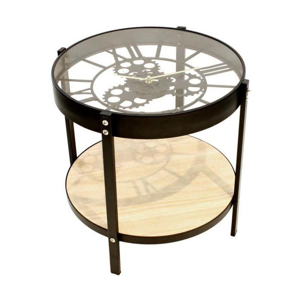 Table De Salon Basse D Appoint Horloge Design Loft Atelier
