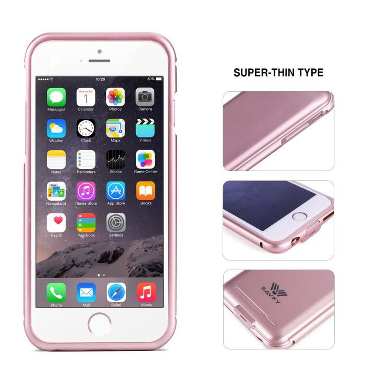 savfy ultra slim coque batterie 2200mah rechargeable pour iphone 6s 6 rose achat coque. Black Bedroom Furniture Sets. Home Design Ideas