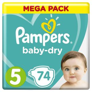 COUCHE PAMPERS Baby Dry Taille 5 - 11 à 23kg - 74 couches