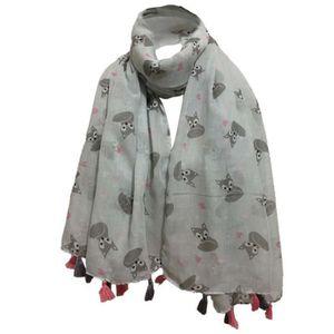 Floral foulard gris foncé Châle broderie cadeau Châle Cape Pashmina Casual a volé
