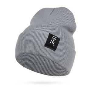 CASQUETTE - SNOOD Bonnet hiver chaud en maille appliquée - Gris