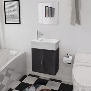 SALLE DE BAIN COMPLETE Meubles de salle de bains 3 pièces Noir - 1 x meub
