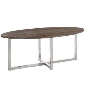 TABLE À MANGER SEULE table à manger ovale en bois et pieds inox 200x100