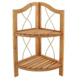 ETAGÈRE MURALE Etagère d'angle en bois brute - 2 étages 60cm