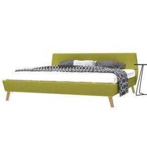 LIT COMPLET Cadre de lit contemporain Canapé-Lit adulte Vert T