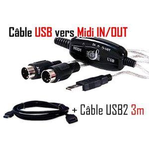 CÂBLE INFORMATIQUE VSHOP®  Kit câble USB adaptateur pour clavier musi