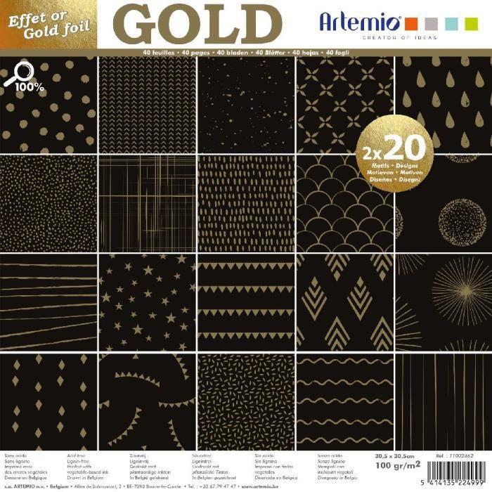 Bloc de 40 feuilles de papier scrapbooking 30x30 cm 'Gold Noir Foil or' d'Artemio