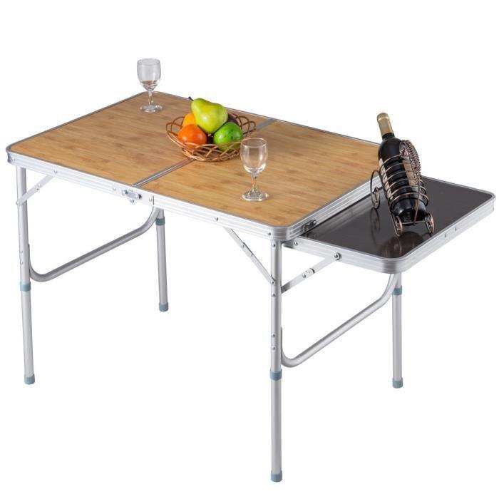 COSTWAY Table Pliante de Camping Valise Portable 90 x 60 x 71cm ( L x l x H) pour BBQ Barbecue Pique-Nique Cadre en Aluminium