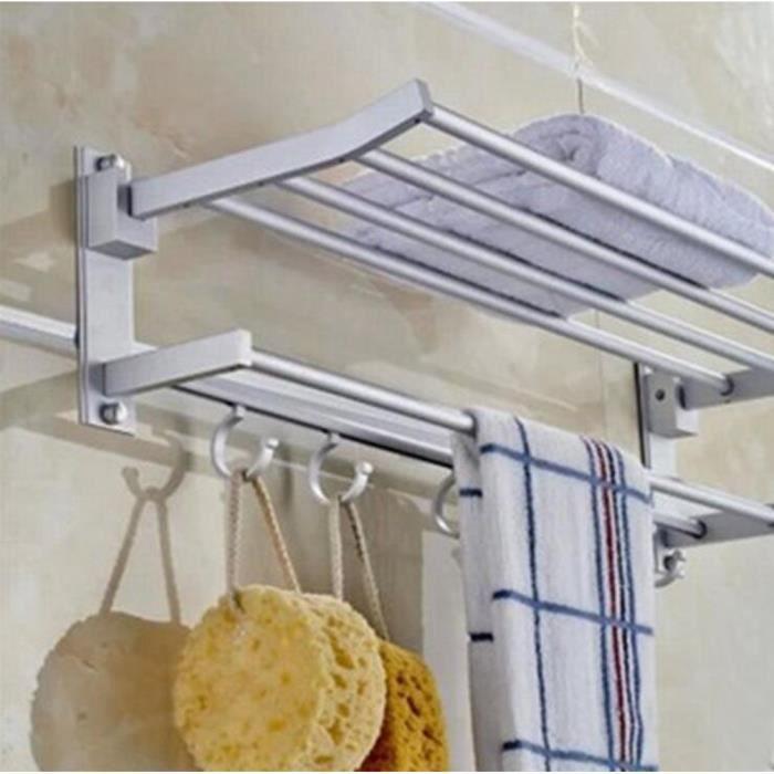 50cm Aluminium Etagere de douche murale Porte Barre Serviette/Manteau salle de bain en inox, Serviteur de douche avec 5 crochets -02