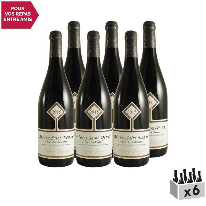 Morey-Saint-Denis 1er Cru Les Millandes Rouge 2015 - Lot de 6x75cl - Maurice Gavignet - Vin AOC Rouge de Bourgogne - Cépage Pinot