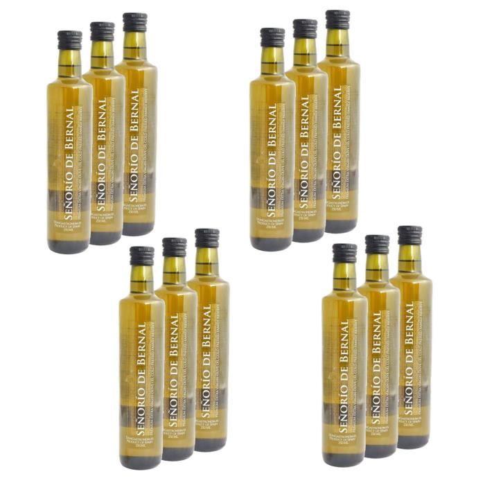 Lot 12x Huile olive extra vierge - pressée à froid - bouteille 250ml