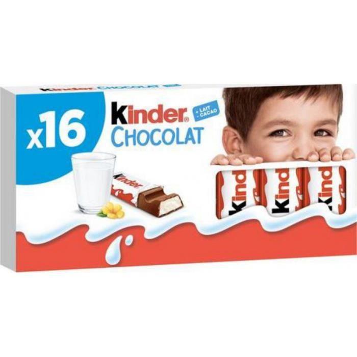 Kinder Chocolat Bâtonnets Barres chocolatées fourrées au lait 200g x16 (lot de 2)
