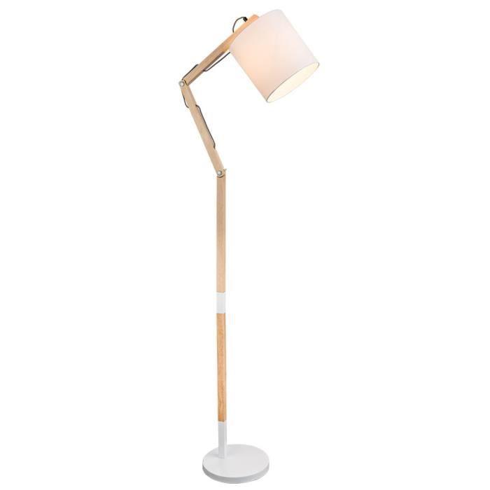 Lampadaire en bois, mobile, blanc, H 172 cm, MATTIS