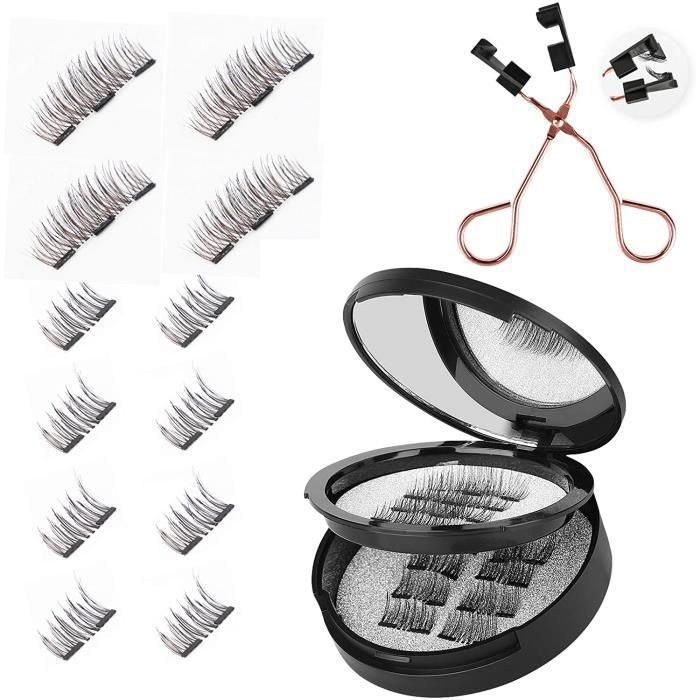 Faux cils magnétiques 3D Faux cils magnétiques Full Eye Faux cils réutilisables pour un look naturel + Pince à cils professionnelle