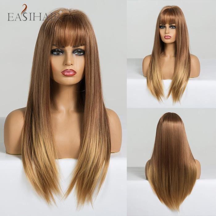 lc223-1 -Perruques synthétiques blanches mélangées longues droites pour femmes Afro Cosplay perruques avec frange perruques naturel