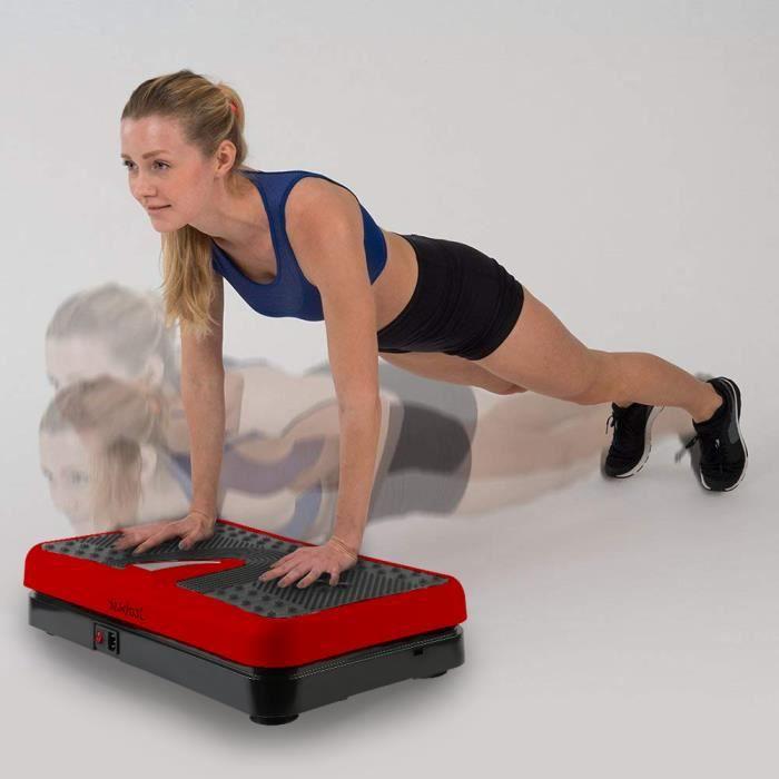 Fitness Plateforme Vibrante 200W pour Musculation et Perte de Poids -Noir&Rouge