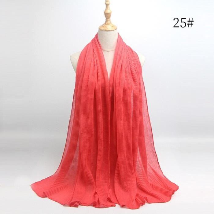 Foulard hijab en coton froissé, écharpe douce, écharpe chaude, écharpe chaude, châle, 25 couleurs, Design hiver, tendanc DY5187