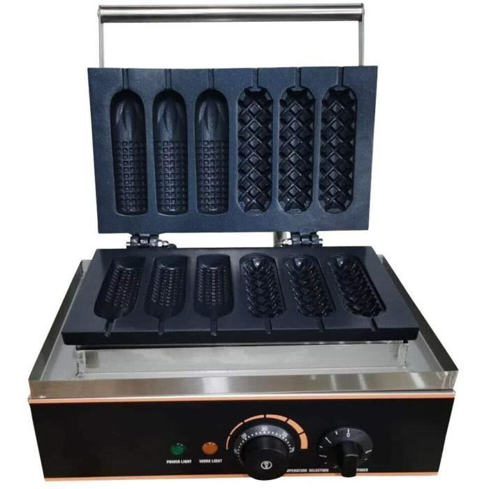 GAUFRIER Gaufrier Hot Dog Commercial Gaufrier Eacutelectrique 1500W Machine agrave Gaufre avec Boicirctier en Acier Inoxydable p405