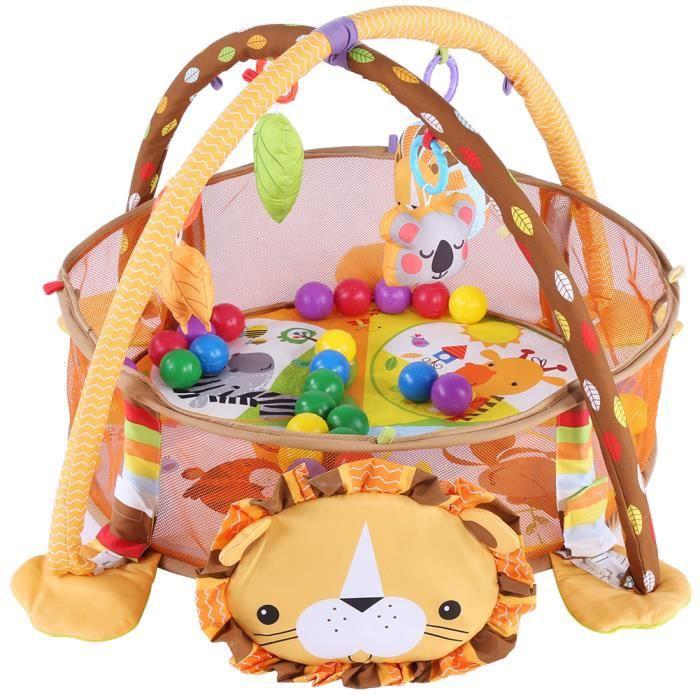 Zoomind® Tapis de gymnastique d'activité jeu bébé avec jouet boules colorées maille garde sécurité (Lion)