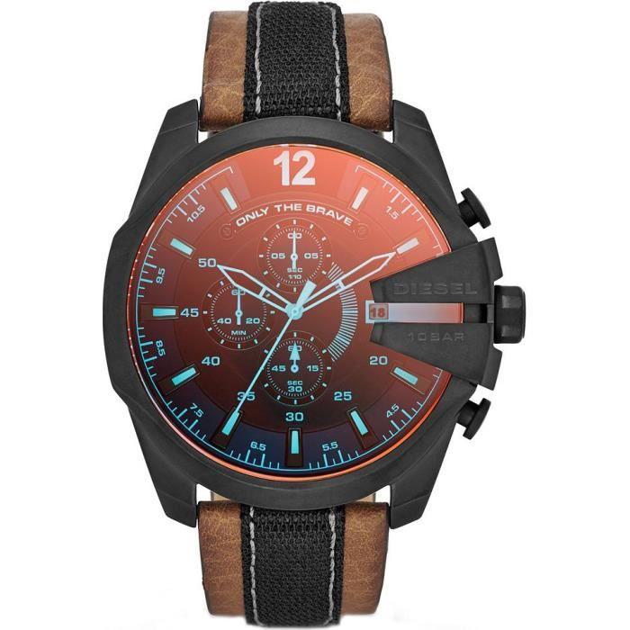 Montre Homme Diesel mega chief DZ4305 Bracelet cuir brun et tissu noir