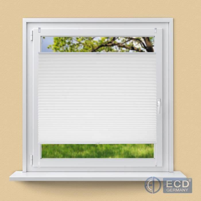 ECD Germany Store plissé 110 x 150 cm Blanc avec Klemmfix sans perçage pour Fenêtre Protection solaire Rideau facile à fixer + Matér