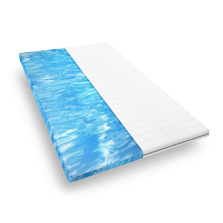 Surmatelas 200 x 200 cm mousse gel confort ferme, housse microfibre, sommeil reparateur, epaisseur 5 cm