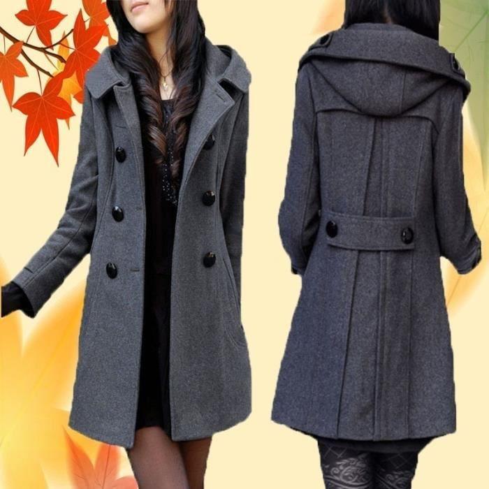Manteau long manteaux d'hiver femmes veste Mélanges de laine chaud pardessus
