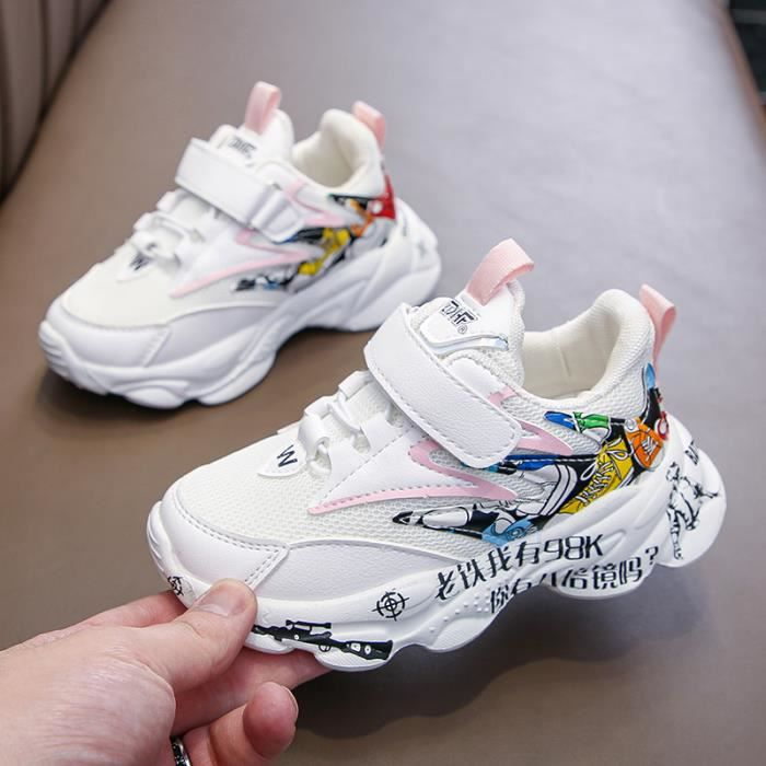 Chaussures de course respirantes en maille pour enfants, baskets pour filles et Garçonss de 5 à 10 ans, taille 27-37, rose, noir, g