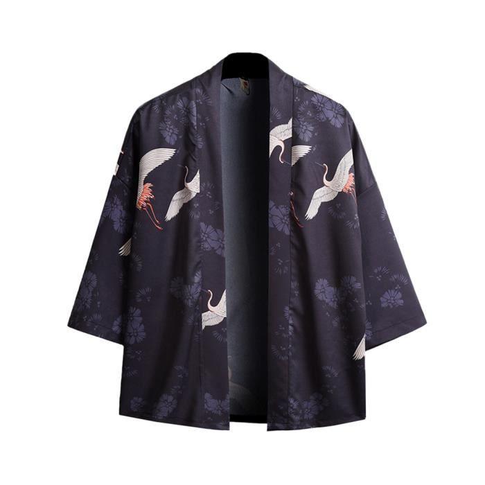 Cardigan Hommes Yukata Imprimé ,Cardigan Ukiyo-e,Haori en Coton,Cardigan Fin Style Chinois A