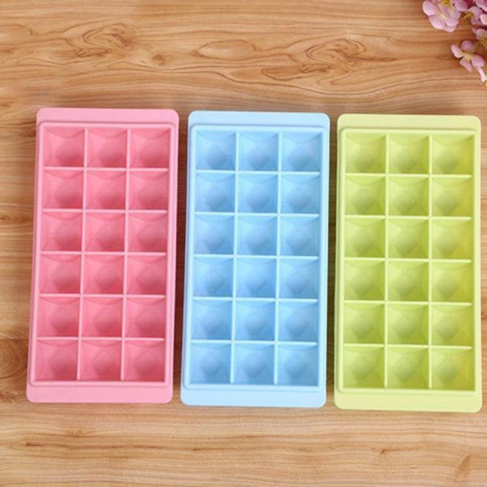 Bac à Glaçons en Silicone 18 Cubes approuvé par la FDA souple et permet de démouler facilement les glaçons (Couleur aléatoire)