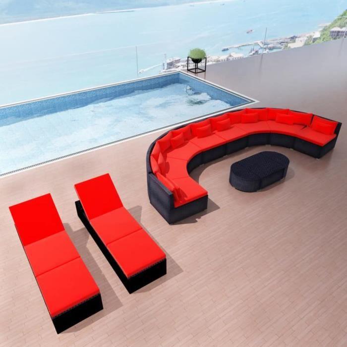 Mobilier de jardin avec chaises longues Rouge Résine tressée Salon de jardin Jeu de canapé Ensembles de meubles d'exterieur
