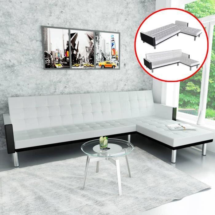2714Jill® Canapé-lit,Canapé d'angle Convertible & Réversible - Design scandinave d'angle Cuir synthétique Blanc