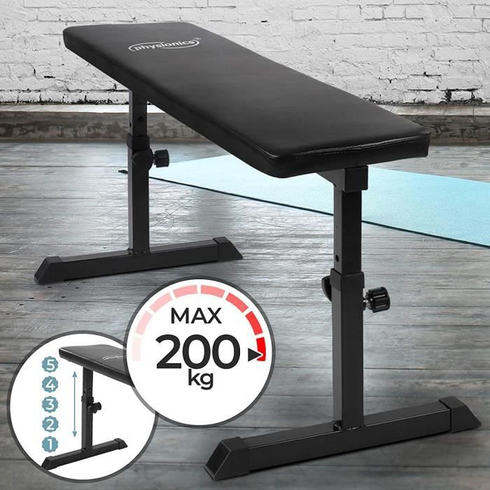 Physionics® Banc de Musculation Plat - Hauteur Réglable, Charge Max. 200 kg - Banc d'Haltérophilie, Exercices,Entraînement, Fitness