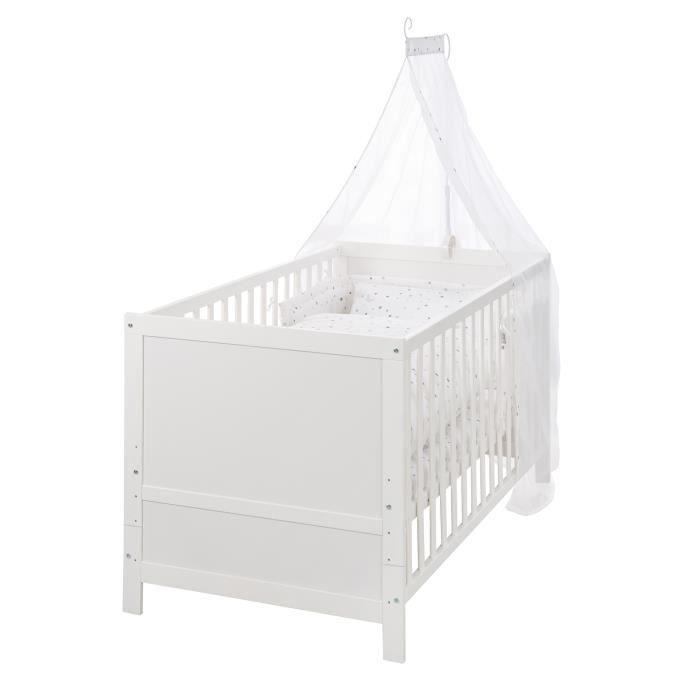 ROBA Lit bébé évolutif, 70 x 140 cm, blanc, réglable sur 3 hauteurs, barres amovibles transformables en lit junior