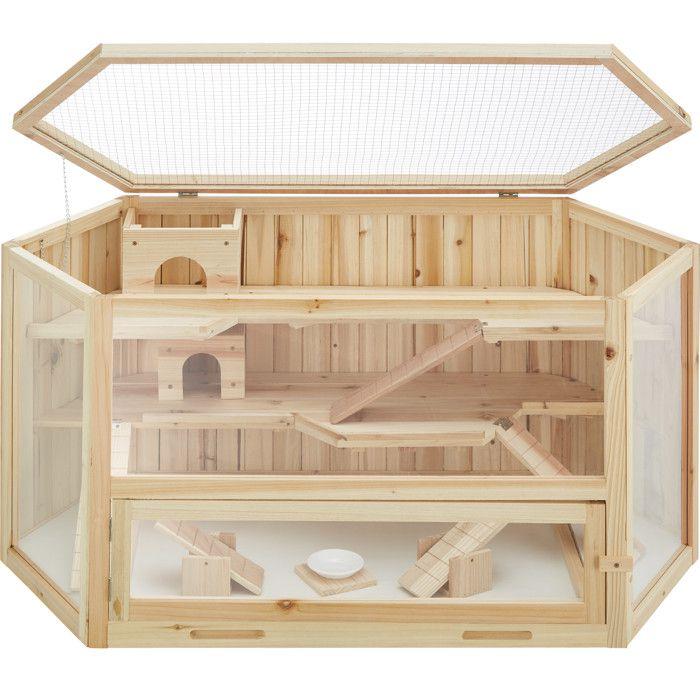 TECTAKE Cage à Hamster Cochon d'Inde Petits Rongeurs et Souris en Bois 115 cm x 60 cm x 58 cm + Bol d'alimentation