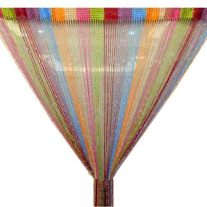 TRIXES Panneau Rideau à Ficelles Multicolore Gouttes de Rosée Parfait comme écran de mouche - Taille Complète 90cm x 200cm