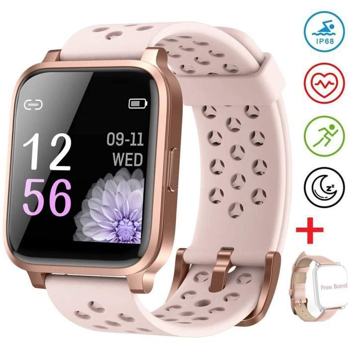 Montre Connectée Femme Smartwatch Tactile Bracelet Connecté Etanche IP67 Sport Cardio Podomètre Fitness Tracker d'Activité Moniteur